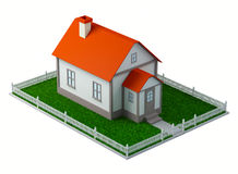 3d House. 3D illustration of a house on green lawn which white fence Stock Photo