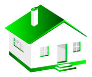 3D House. Basic 3d model of a house with green roof isolated on white background Stock Images