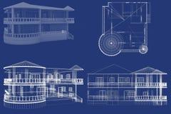 3D House. Blueprint, Blue, white Stock Photos