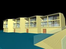3D house. 3D drawing of a residential house Royalty Free Stock Photos