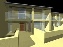 3D house. 3D drawing of a residential house Stock Photo