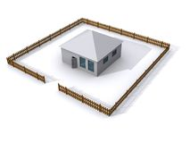 3D House. A rendering of a 3d house with a fence Royalty Free Stock Photo