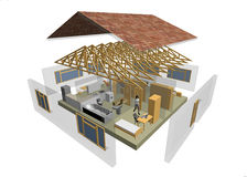 3D house. 3D rendering of small house with furniture Royalty Free Stock Image