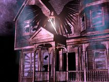 3D house with angel. 3D render of an old, abandoned wooden house with smoke, stars, full-moon background and an angel with black wings and sword Stock Photos