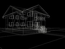 3d house in black background Royalty Free Stock Photography