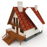 3d house with blank price tag Stock Photo