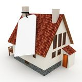 3d house with blank price tag Stock Images
