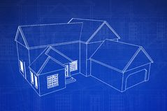 3D House Blueprint royalty free illustration