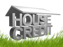 3d house and credit icon symbol Royalty Free Stock Photo