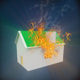 3d house on fire. 3d rendering of house on fire Stock Photography