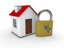 3d house home padlock Royalty Free Stock Photo