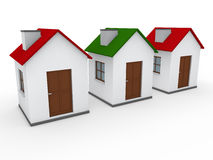 3d house home red green Stock Photo