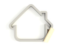 3d House Icon 02. Three-dimensional house icon isolated on a white background Stock Images