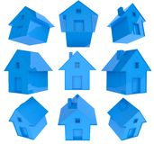 3d house icon set. Isolated white Royalty Free Stock Images