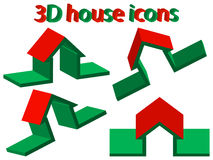 3d house icons. Against white background, abstract vector art illustration Royalty Free Stock Photos