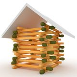 3d house if matches with roof Royalty Free Stock Photos
