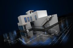 3D house illustration with blueprint. On black background Royalty Free Stock Image