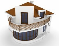 3d house isolated on white Royalty Free Stock Photo