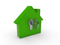 3d house key green Royalty Free Stock Image