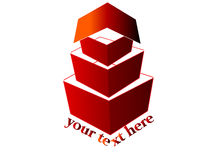 3d house logo. 3d red house logo design Stock Images