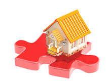 3d house and part of a puzzle Royalty Free Stock Photo