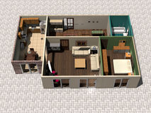 3D house plan. 3D rendering of small house with furniture vector illustration