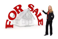 3d House presentation with big red for sale text Royalty Free Stock Images