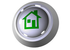 3D house press button Royalty Free Stock Photography