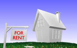3D house with FOR RENT-sign. 3D rendered House with grass, flowers and FOR RENT-sign in front royalty free illustration