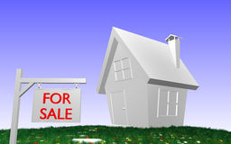 3D house with FOR SALE-sign. 3D rendered House with grass, flowers and FOR SALE-sign in front royalty free illustration