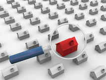 3d house search Royalty Free Stock Image