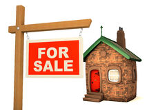 3D House and sign For Sale Stock Photo