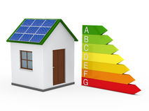 3d house solar energy bar Royalty Free Stock Photos
