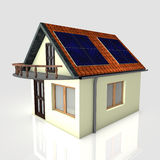 3D house with solar panels royalty free stock image