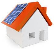 3d house with solar power Royalty Free Stock Photo