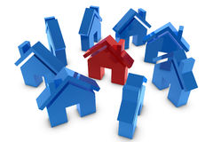 3D house symbol. In red and blue Royalty Free Stock Images