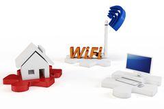 3d house wifi computer concept Royalty Free Stock Photo