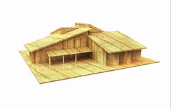 3d house wood design Stock Photos
