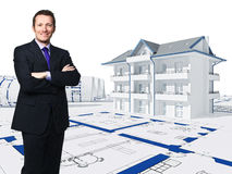 3d house and worker. Standing businessman and 3d house vector illustration
