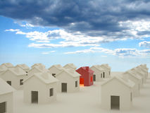 3D houses with clouds. 3D rendering of houses with clouds in background Royalty Free Stock Photography