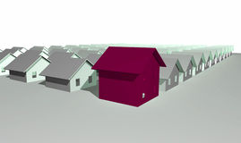 3d houses modernt framför Arkivfoto