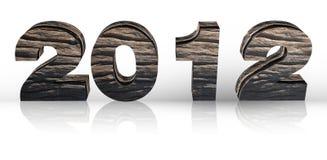 3D houten geeft het jaar van 2012 op een wit terug Stock Fotografie