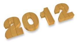 3D houten geeft het jaar van 2012 op een wit terug Royalty-vrije Stock Foto