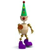 3d houten mens als clown Royalty-vrije Stock Fotografie