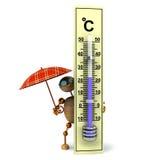 3d houten mens houdt termometer royalty-vrije illustratie