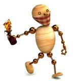 3d houten mens met een geïsoleerdeo molotovcocktail Stock Afbeelding