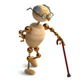 3d houten mens oud met wandelstok Stock Fotografie