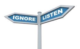 3d hören ignorieren Signpost Lizenzfreies Stockfoto