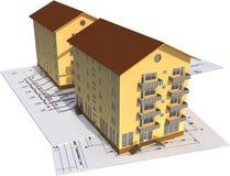 3d huis Arhitectural Royalty-vrije Stock Afbeeldingen