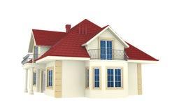3d huis dat op witte achtergrond wordt geïsoleerdd royalty-vrije illustratie